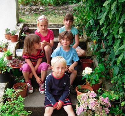 Sommeren 2009 i Hossegor Anna - Clara - Léa - David og Niels
